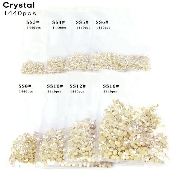 1440pcs Bright Crystal Clear Rhinestone SS3~SS16 Gold Bottom Non Hotfix Flatback Glass Rhinestones For Nails 3D Gems Decoration