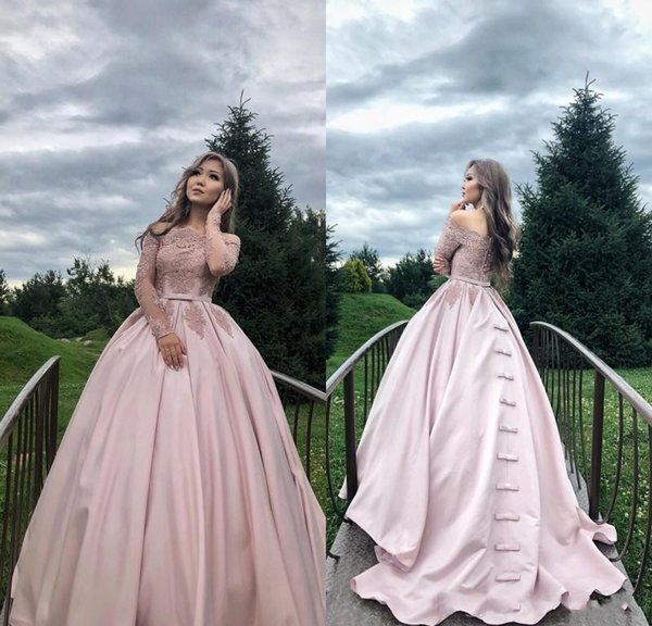 2018 New Nude Pink Quinceanera Dresses Off Shoulder Long Sleeves With Bow Lace Appliques 16 Ball Gown Satin Plus Size Prom Evening Gowns