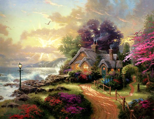 Modern Impressão HD Na Lona Lakeside Hideaway Thomas Kinkade Pinturas A Óleo Paisagem Reprodução Seascape Art Wall Decoração de Casa HT001