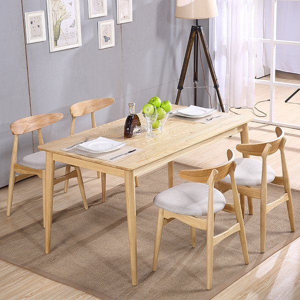 Phenomenal 2019 Simple Solid Wood Dining Table And Chair Combination 4 People Rectangular Nordic High Grade Rubber Wood Dining Table Home Dining Table From Creativecarmelina Interior Chair Design Creativecarmelinacom