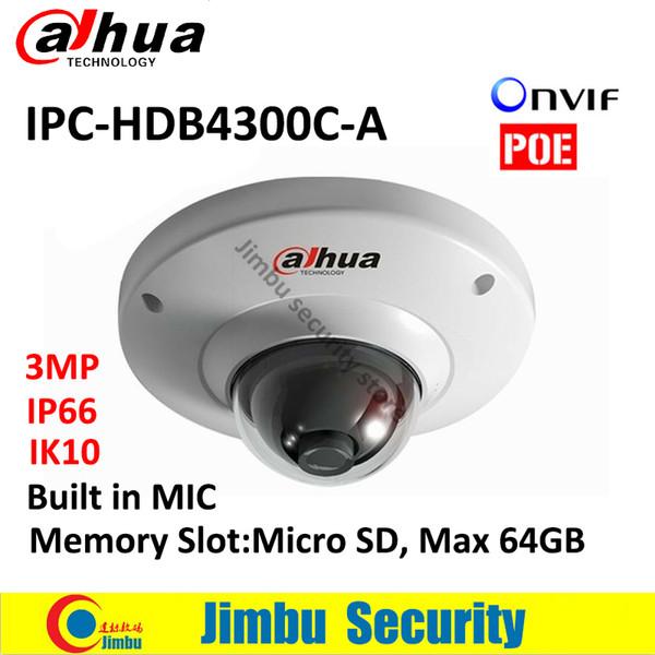 DAHUA POE dome IPC camera IPC-HDB4300C-A 3MP IR 30m Built-in MIC security IP camera Memory Slot Max 64GB CMOS IK10 mini