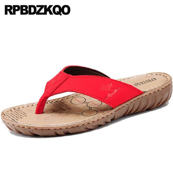 Slaytlar Rahat Kırmızı Sandalet 2018 Geniş Fit Ayakkabı Bayanlar Düz Moda Yaz Çin Plaj Kadınlar Terlik Kahverengi Deri Flip Flop