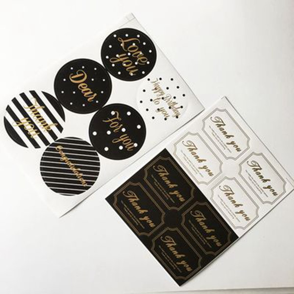 best selling thank you Sealing Sticker Round Gold Stamping Self Adhesive DIY Gift Packing Decorative Baking Label Paster Wrapping Stickers Envelope Seals