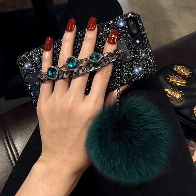 For iPhone 6 6S 7 8 Plus X Case Luxury 3D Bling Rhinestone Glitter Powder Two Chain Fox Fur Ball Hard Phone Cases Cover
