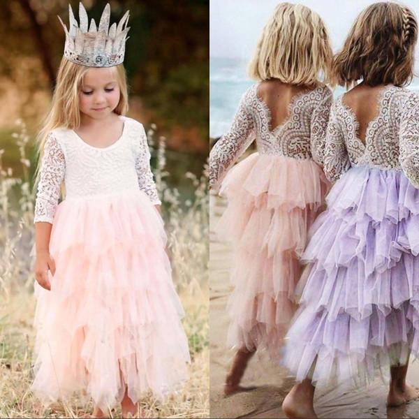 Verão Lindo Chá de bebê Comprimento Tutu Flor Menina Vestido de Princesa Rendas Tule Meninas Pageant Ocasião Especial Vestidos MC1680