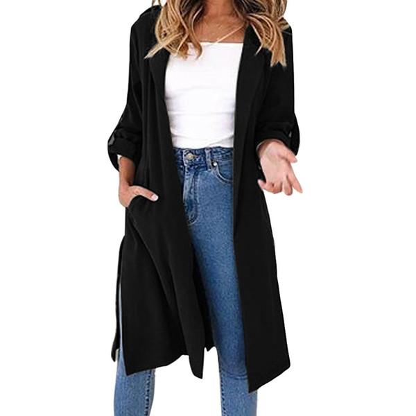 Frauen Regenmantel Fashion Trench Solid Langarm Umlegekragen Trenchcoat offene Masche weit tailliert casaco feminino