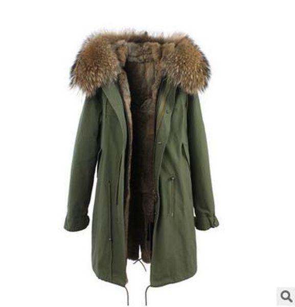Jazzevar brand Brown raccoon fur trim wild rabbit fur lining army green canvas jackets fur parkas Australia new Zealand