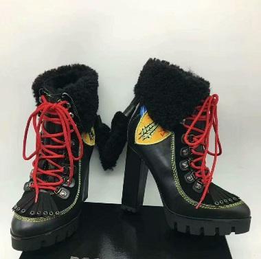 Großhandel Herbst Winter Echtem Leder High Heel Stiefeletten Style Zip Schnürschuhe Martin Stiefel Runde Zehe Frauen Booties Party Weddibg Boots Von