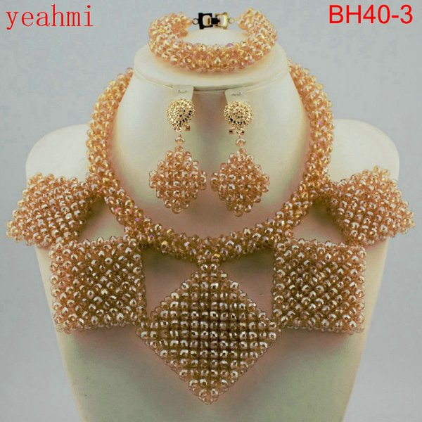 Fashion nigerian wedding african Coral beads gold plated Women jewelry set Coral necklace + bracelet + earrings Free ship BH40-1