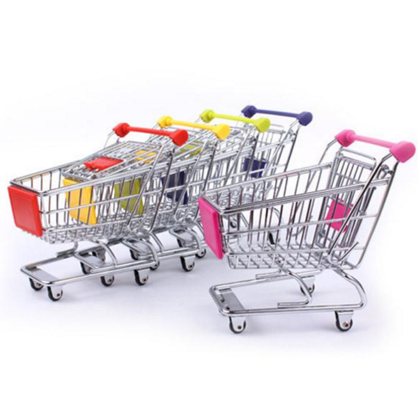 Mini Supermarket Shopping Cart Trolley Toy Creative Phone Pen Organizer Storage Box Collect Tools For Kids Children Toys Gifts SN451