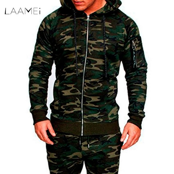 LAAMEI Fashion Camo Slim Fit Jacket Men Casual Soild Jacket Hooded Camouflage Tactical Clothing Men's 2018 Spring Autumn Coats D18101006