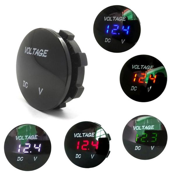best selling Round Waterproof Auto Boat Car Motorcycle DC5V-48V LED Panel Mini Digital Volt Voltage Meter Tester Monitor Display Voltmeter
