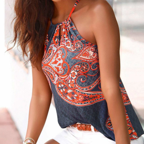2018 Summer Fashion New Tank Top Women Boho Print Sleeveless Hollow Out Tops Tunic Spaghetti Strap Clothes Cami