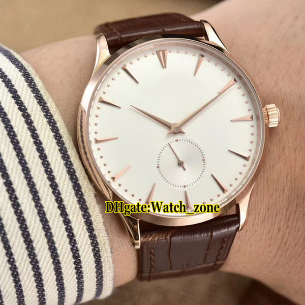 New 40mm Master Control Ultra Thin 1352520 White Dial Swiss Quartz mens Watch Rose Gold Case Leather Strap High Quality Gents Watches