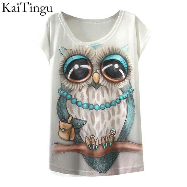 KaiTingu 2018 New Fashion Vintage Spring Summer T Shirt Women Clothing Tops Animal Owl Print T-shirt Printed White Woman Clothes