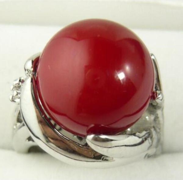LLwholesale basit tarzı 12mm kırmızı kabuk inci moda yüzük