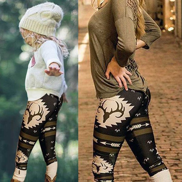 best selling Family Christamas Leggings 2018 Family Xmas Matching Outfits Family Deers And Arrows Leggings Mother Daughter Christams Cartoon Print Pants