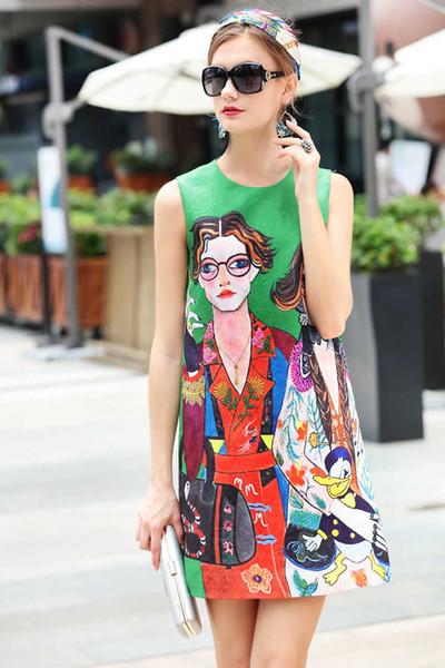 Summer Runway Fashion Fancy tela jacquard sin mangas de lujo vestidos de la nueva llegada al por mayor de impresión Womens Ladies Casual Designer
