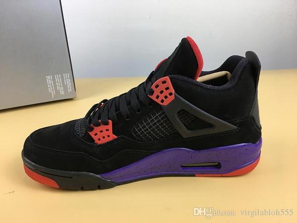 Горячие 4 NRG Рапторы баскетбол обувь для человека черный университет Красный суд фиолетовый резиновая подошва спортивные кроссовки с коробкой AQ3816-056