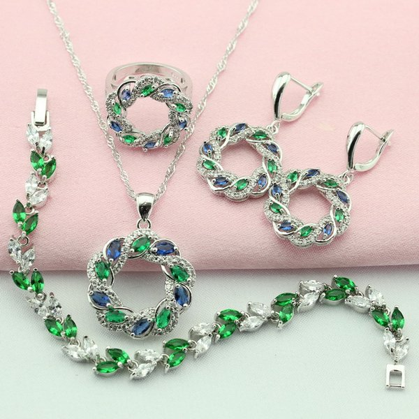 WPAITKYS Classic Cubic Zirconia Green Silver Color Jewelry Sets For Women Earrings Bracelet Necklace Pendant Ring Free Gift Box