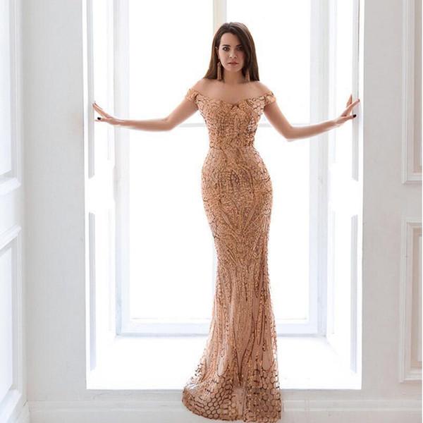 2018 sexy gold/green/navy blue slash neck long party dress sequin maxi dress prom evening gowns robe de soriee