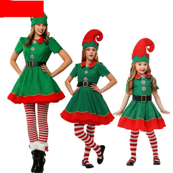 Men and women green Christmas dresses Elf costumes Christmas dress up cashmere Autumn and winter Parent-child