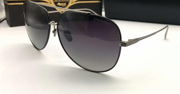 Condor Pilot Sunglasses Silver Black Frame Lente gris degradado Gafas de sol de lujo de diseño Sombras Nuevo con estuche