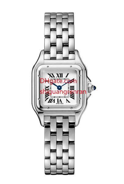 Relojes de señora top Luxury 22 MM esfera blanca Asia VK pulsera de acero inoxidable de cuarzo Cronógrafo Número romano esfera cuadrada cara para mujer Reloj