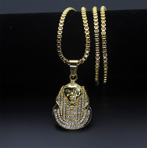 """Men's African Jewelry Zinc Alloy/18K Gold Plated Egyptian Pharaoh Pendant Necklace 30"""" Box Chain Hip Hop"""