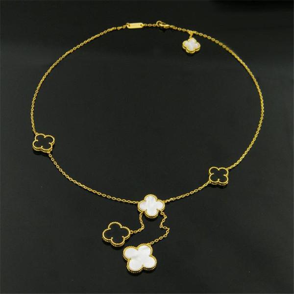 Le donne di marca collane del pendente dei fiori Le signore di lusso hanno placcato le catene placcate dell'acciaio inossidabile 316L Collane bianche del fiore dell'agata di modo