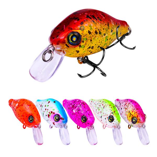6 Pcs/lot Bright Color lifelike fish minnow Crank fishing lures 8# hooks 5.8cm 8.5g Fishing Lure Crankbait ABS plastic hard Bait