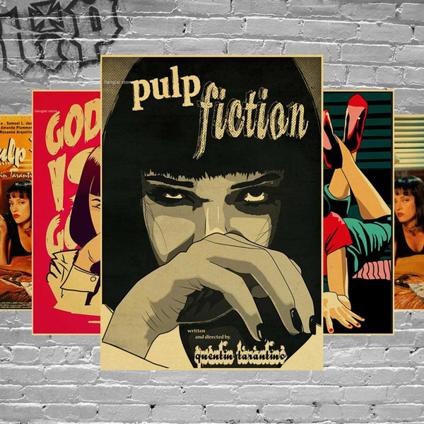 Pulp Fiction Classic Retro Kraft Bar Cafe Decorative Posters Vintage Wall Stickers