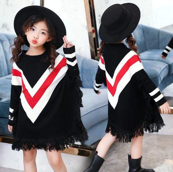 Vieeoease Girls Poncho Christmas Knitting Tassels Kids Sweater 2018 Autumn Fashion Batwing Sleeve Big Girls Sweater CC-065