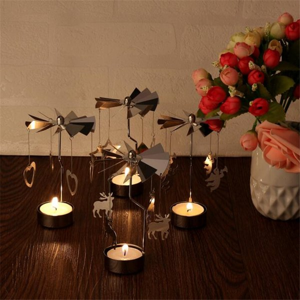 New Candle Holders Revolving Door Windmill Rotation Candlestick Candle holder Candle Tea Light Holder Holiday Decor