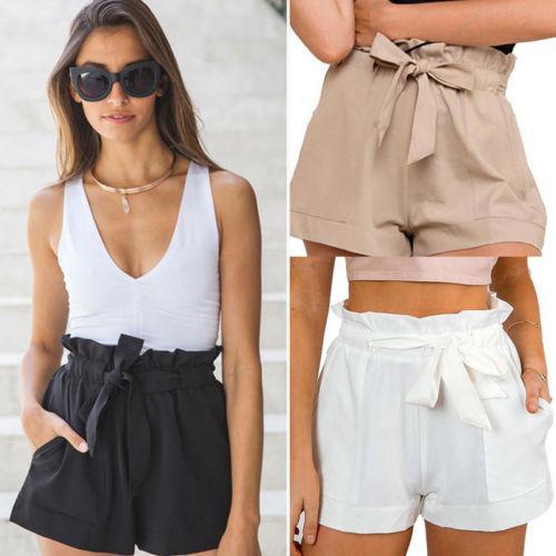 Nouvelles femmes sexy taille haute poches en crêpe chaud shorts été occasionnels mini-shorts vacances