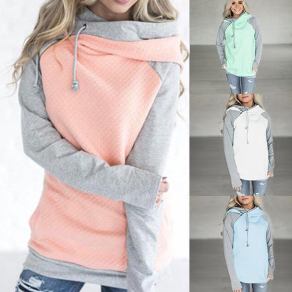 top popular Double Hood Hoodie Sweatshirt 2018 Women Autumn Long Sleeve Side Zipper Hooded Tops Casual Patchwork Pullover Female Size 3XL 2020