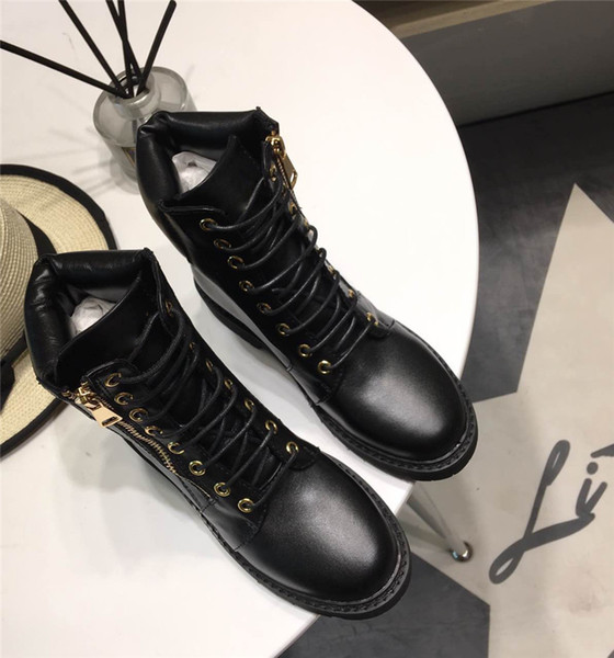 Buckled Ankle Boots For Womens Side Zip Lace-Up Leather Boots Suede Low Heel Round Toe Gold-Tone Hardware Martin Shoes Luxury Brand 14