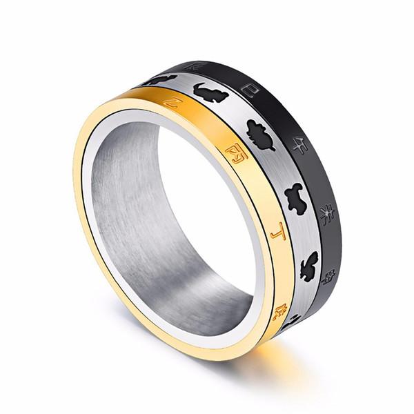 Anéis de Homem do Zodíaco Chinês de alta Qualidade Clássico de Aço Inoxidável Dos Homens Do Vintage Presente Da Jóia