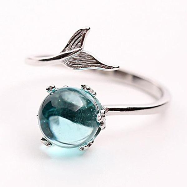 Classic Kawaii Mermaid Fishtail Gem Crystal Geometric Silver Opening Ring Women Fashion Beach Party Birthday Gift