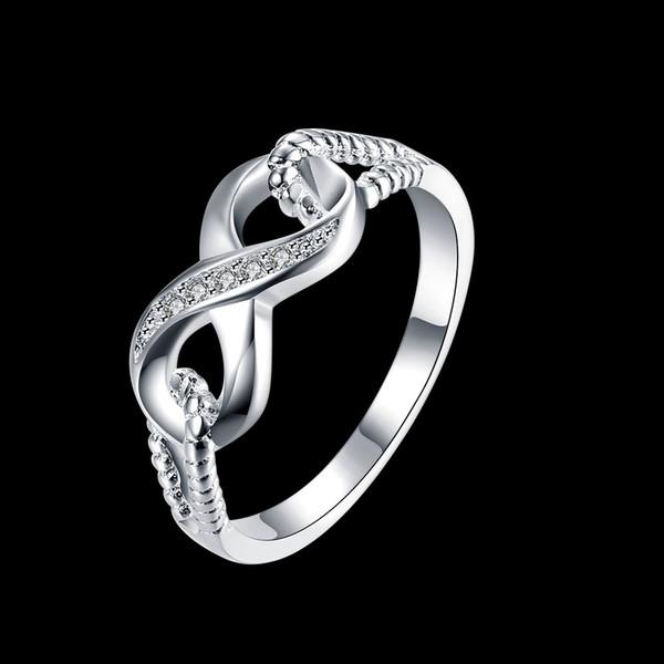 Оптовая продажа-обручальные кольца подлинная стерлингового серебра 925 ювелирные изделия дизайнер Марка кольца для женщин свадьба Леди бесконечность 3.5 размер кольца