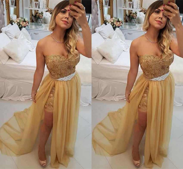 New Fashion Gold Sleeveless Prom Dresses Party Evening A Line High Split Vintage Lace Prom Dresses Long Chiffon Formal Gowns