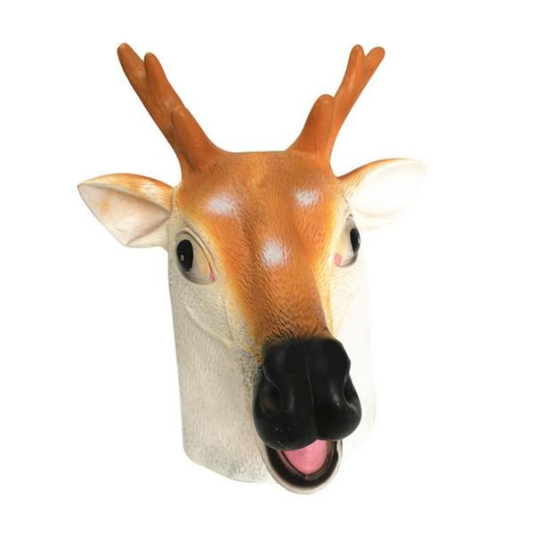 Creepy Sika Deer Head Latex Mask Theater Prank Prop Crazy Masks Halloween Costume