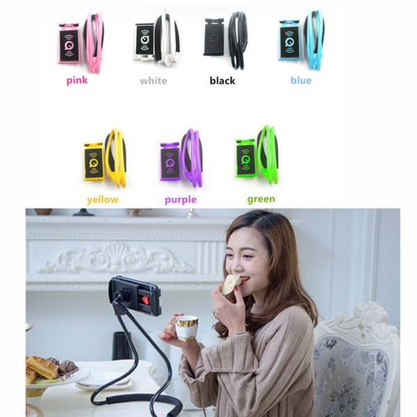 Universal 360 Degree Rotation Flexible Hanging Phone Selfie Holder Neck Bed Mount Anti-skid Support For iPhone Android