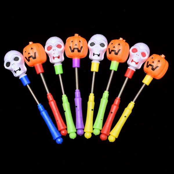 LED Pumpkin Shake Stick Halloween Flash Decor Light Up Ghost witch Magic Wands Glow Sticks Party Favor Prize fancy dress props decorations