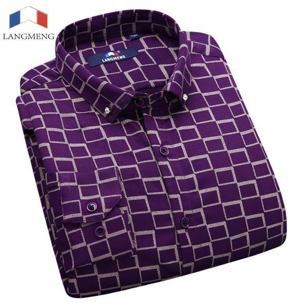 Langmeng 2017 Autumn Winter brand men casual shirt mens thick dress shirts business long sleeve thin velvet male formal shirts C18111601