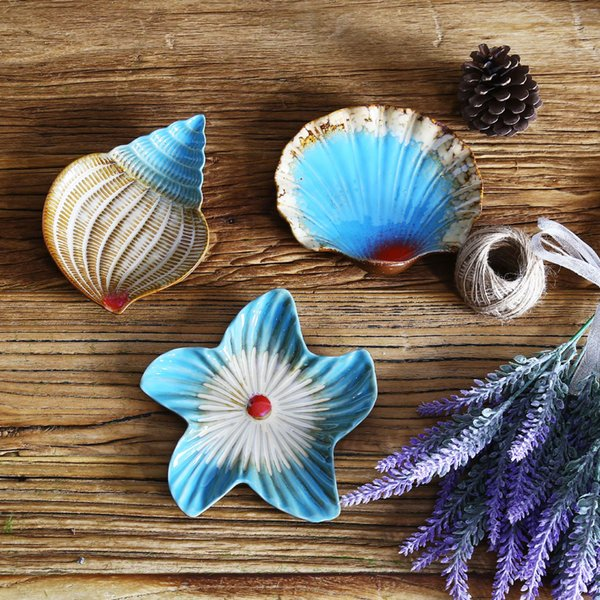 Shell Shaped Soap Dish Bathroom Holder Saver Tray Ceramic Case Container Kitchen Snack Food Seashell Plate Organizer