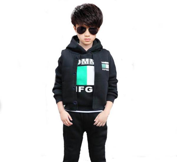 Children Clothes Set 3 Pieces Set Boys Tracksuit Warm Hoodies Coats+Vests+Pants Kids Girls Sport Suit for 4 6 8 10 12 Year Old