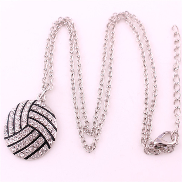 New Design Sporty Necklace For Unisex Volleyball Shape Charm With Glittering Crystals Birthday Gift Zinc Alloy Provide Dropshipping