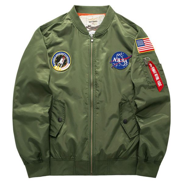M-6XL MA1 Pilot Embroidery Jackets Japanese MERCH BOMBER MA-1 Stand Collar Hoodies High Quality Zipper Men's Outdoor Swearshirt