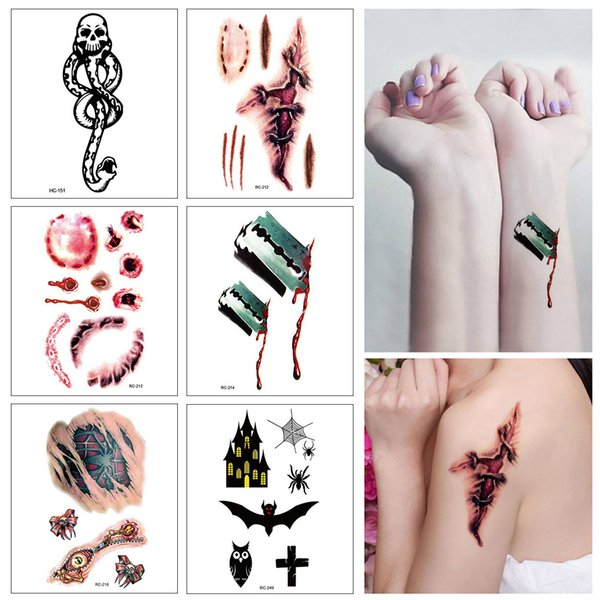 6pcs / lot beängstigend halloween blutverletzung aufkleber tattoo aufkleber für halloween cosplay body makeup halloween party tattoo aufkleber